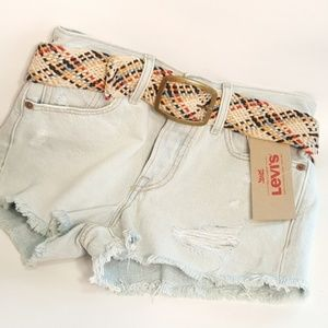 Levis Wedgie Fit Button Fly Cut Off Shorts 24